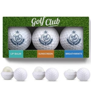 3 Pack Golf Ball Lip Balm, Mints & Sunscreen