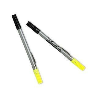 Dri Mark Double Header Nylon Point Pen & Highlighter w/ Silver Body